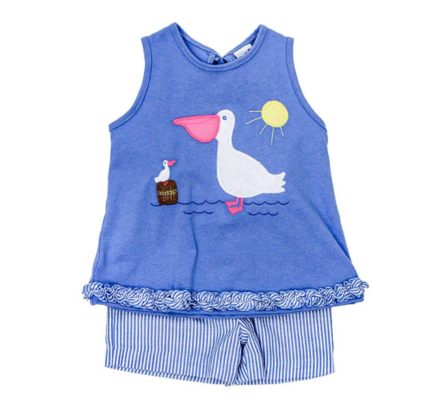 Pelican Applique Girls Short Set