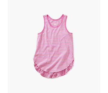 Tea Collection Striped Ruffle Tank in Sweet Pea