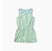 Tea Collection Printed Knit Romper in Pop Lotus Robins