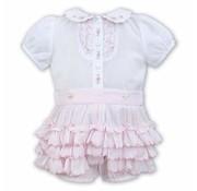 Sarah Louise 2 Pc Ruffled Pink Panty W/ White Blouse