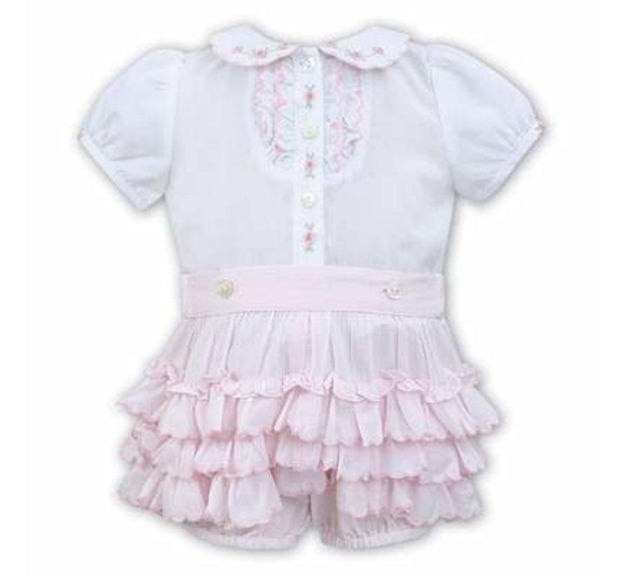 2 Pc Ruffled Pink Panty W/ White Blouse