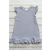 Zuccini Basic Angel Sleeves Girl Dress in Navy Stripe
