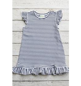 Zuccini Basic Angel Sleeves Girl Dress in Navy Stripe