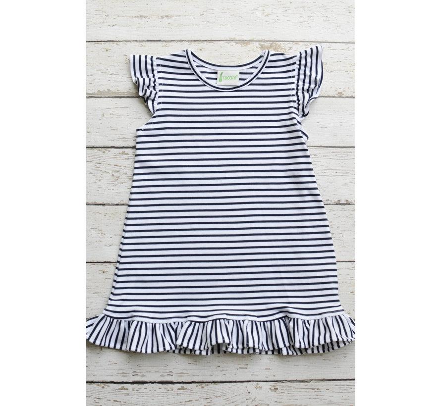 Basic Angel Sleeves Girl Dress in Navy Stripe