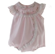 Sarah Louise Pink Bubble with Rosebuds and Eyelet Trim