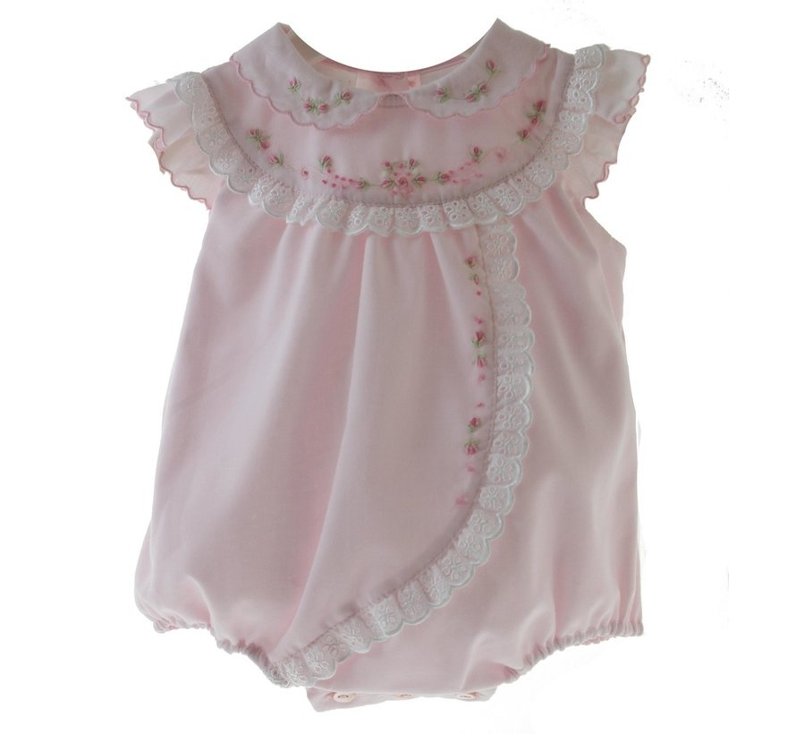 Pink Bubble with Rosebuds and Eyelet Trim