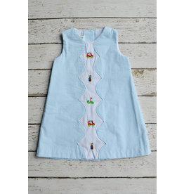 Zuccini Golf Embroidered Girls Seersucker Dress