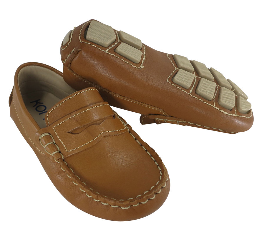 Driving Moccasin Penny Loafer Style in Natural Leather