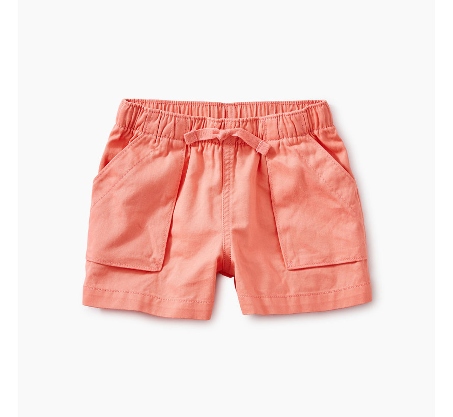 Solid Woven Pull-On Shorts in Bubblegum