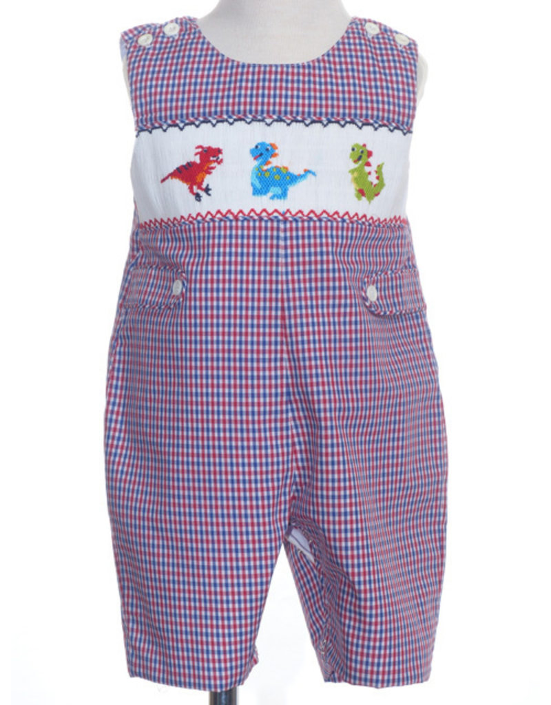 Dinosaur Smocked Jon Jon on Red,White and Blue Checked Gingham