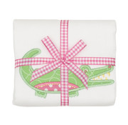3 Marthas Burp w/appliqued Pink Alligator