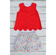 Zuccini Basic Girl Scallop Collar Blouse with Strawberry Scallop Shorts