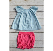Zuccini Basic Girl Floral Woven Blouse with Fuchsia Bloomers