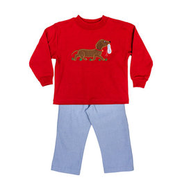 The Bailey Boys Dog with Shoe Applique Boys Pant Set