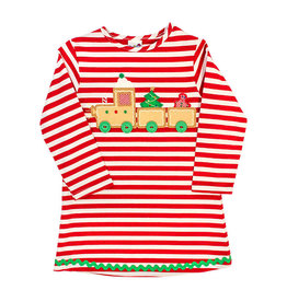 The Bailey Boys Gingerbread Train Applique Knit Dress