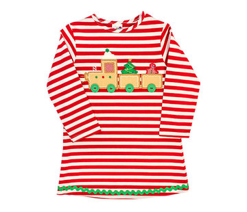 The Bailey Boys *PREORDER* Gingerbread Train Applique Knit Dress