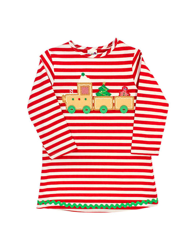 The Bailey Boys *PREORDER* Gingerbread Train Applique Knit Dress