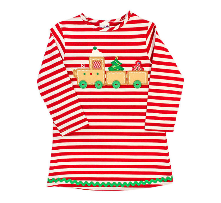 *PREORDER* Gingerbread Train Applique Knit Dress