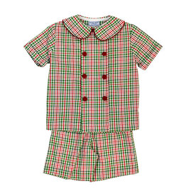 The Bailey Boys Mistletoe Plaid Boys Dressy Short Set
