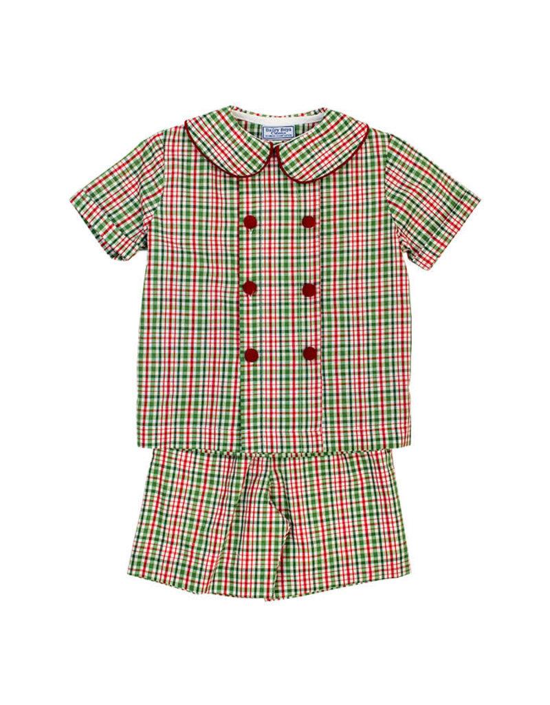 The Bailey Boys *PREORDER* Mistletoe Plaid Boys Dressy Short Set