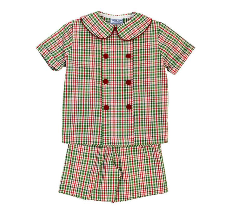 *PREORDER* Mistletoe Plaid Boys Dressy Short Set
