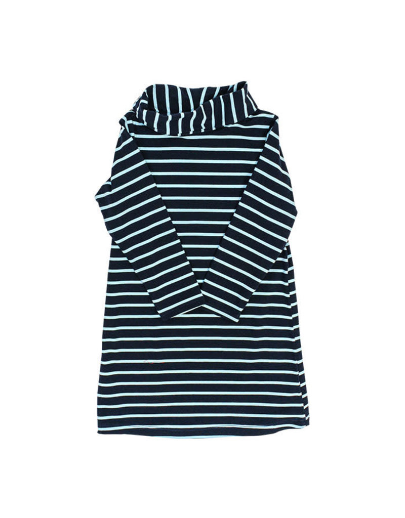 J Bailey *PREORDER* Navy and Turquoise Stripe Cowl Neck Dress