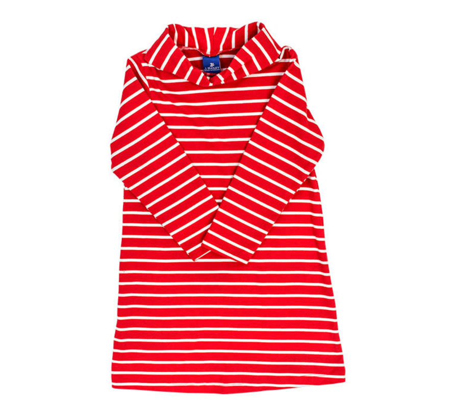 *PREORDER* Red and White Stripe Cowl Neck Dress