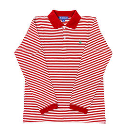J Bailey Red and White Striped Longsleeve Polo