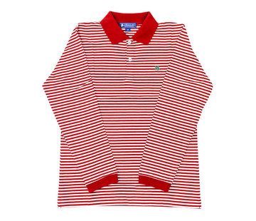 J Bailey *PREORDER* Red and White Striped Longsleeve Polo