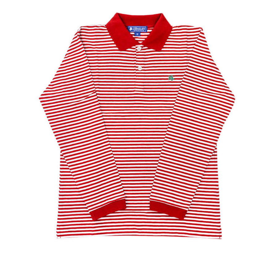 *PREORDER* Red and White Striped Longsleeve Polo