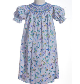 Purple Hummingbird Floral Print Smocked Dress