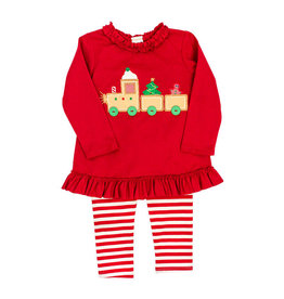 The Bailey Boys Gingerbread Train Applique Legging Set