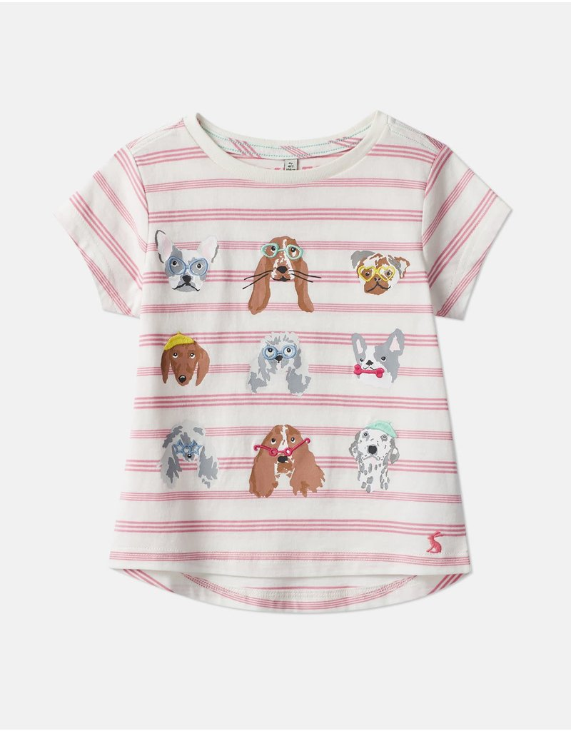Joules Astra Pink Stripe Dog Applique T-Shirt