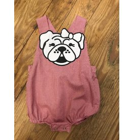 Magnolia Steel Red Gingham Bulldog Girl Bubble