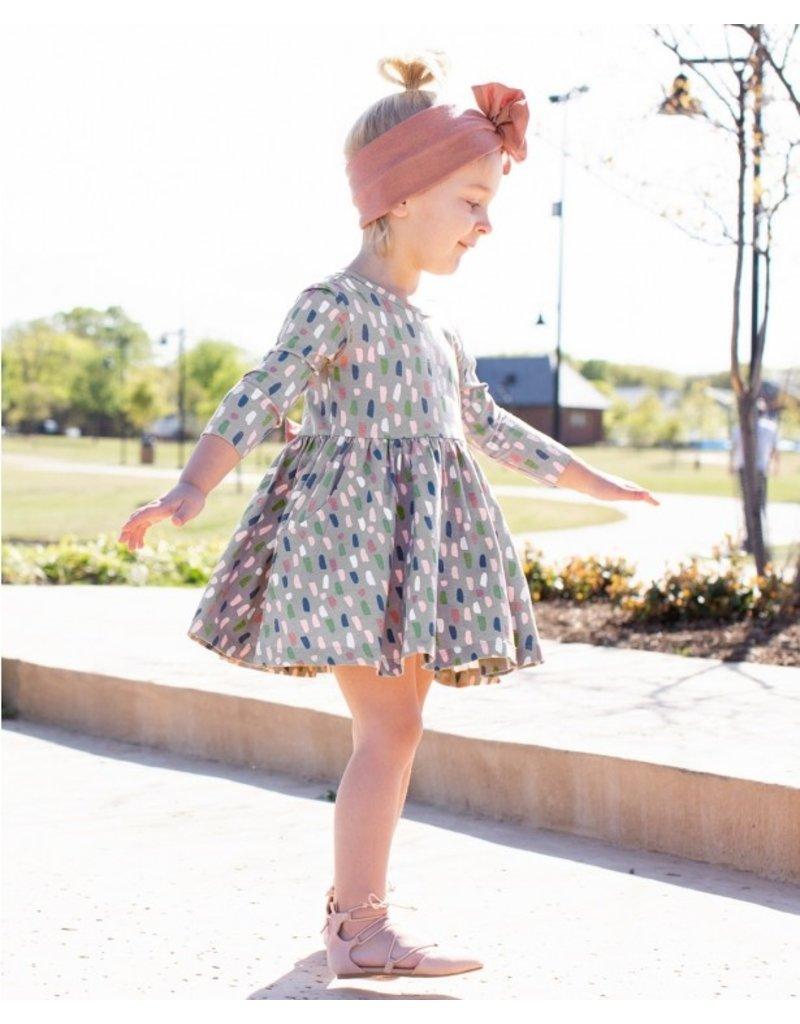 RuffleButts Brushed Confetti Twirl Dress