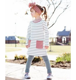 RuffleButts Slate & Ivory Stripe Pocket Dress