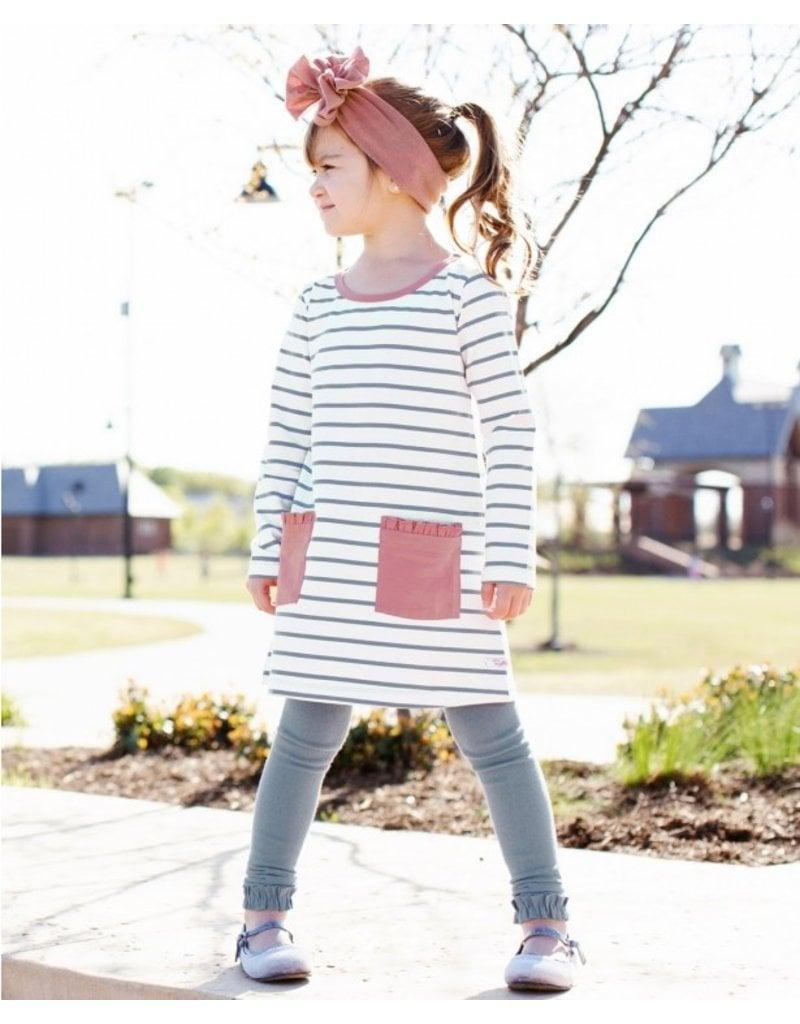 RuffleButts Slate & Ivory Stripe Pocket Dress