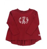 RuffleButts Cranberry Long Sleeve Bow-Back Top