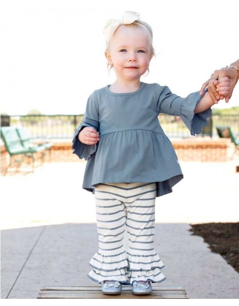 RuffleButts Slate & Ivory Stripe Ruffle Pants
