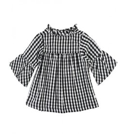 RuffleButts Black & White Gingham Top