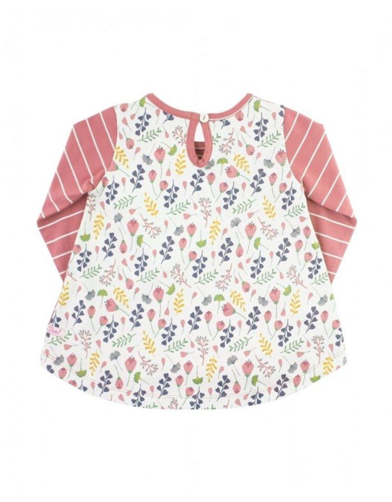 RuffleButts Mauve Stripe Floral Affair Pocket Tunic