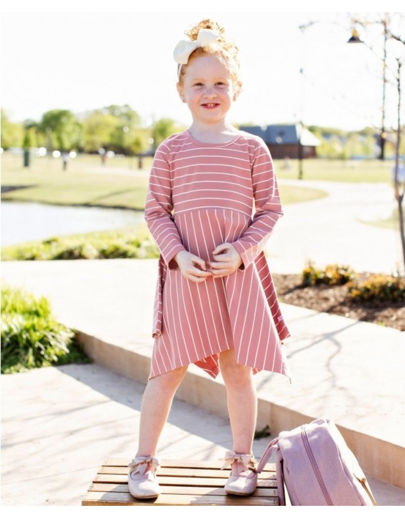 RuffleButts Mauve & Ivory Stripe Handkerchief Dress