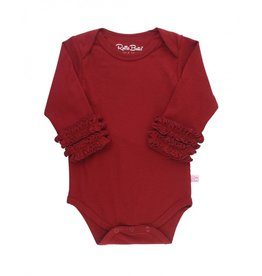 RuffleButts Cranberry Ruffled Long Sleeve Layering Bodysuit