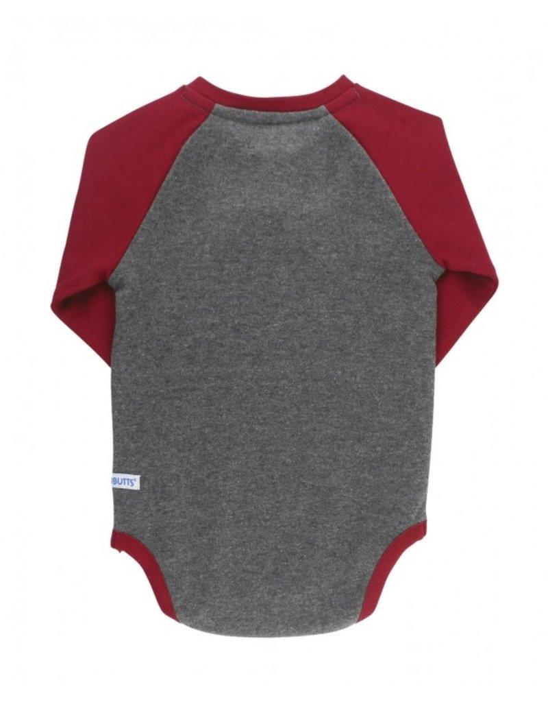 Cranberry & Gray Raglan Henley Bodysuit
