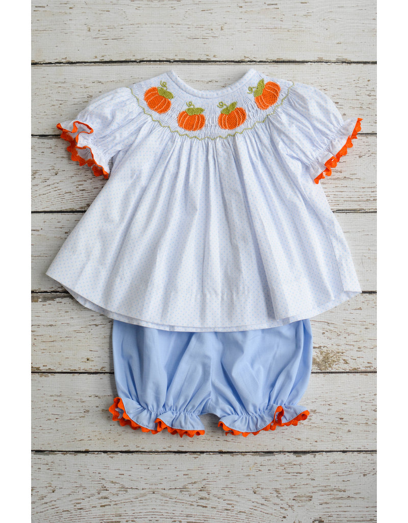 Three Sisters Pumpkin Smocked Bishop Top and Bloomers Set