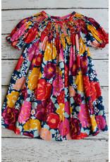 Banana Split Rhapsody Rose Smocked Geo Bishop Dress