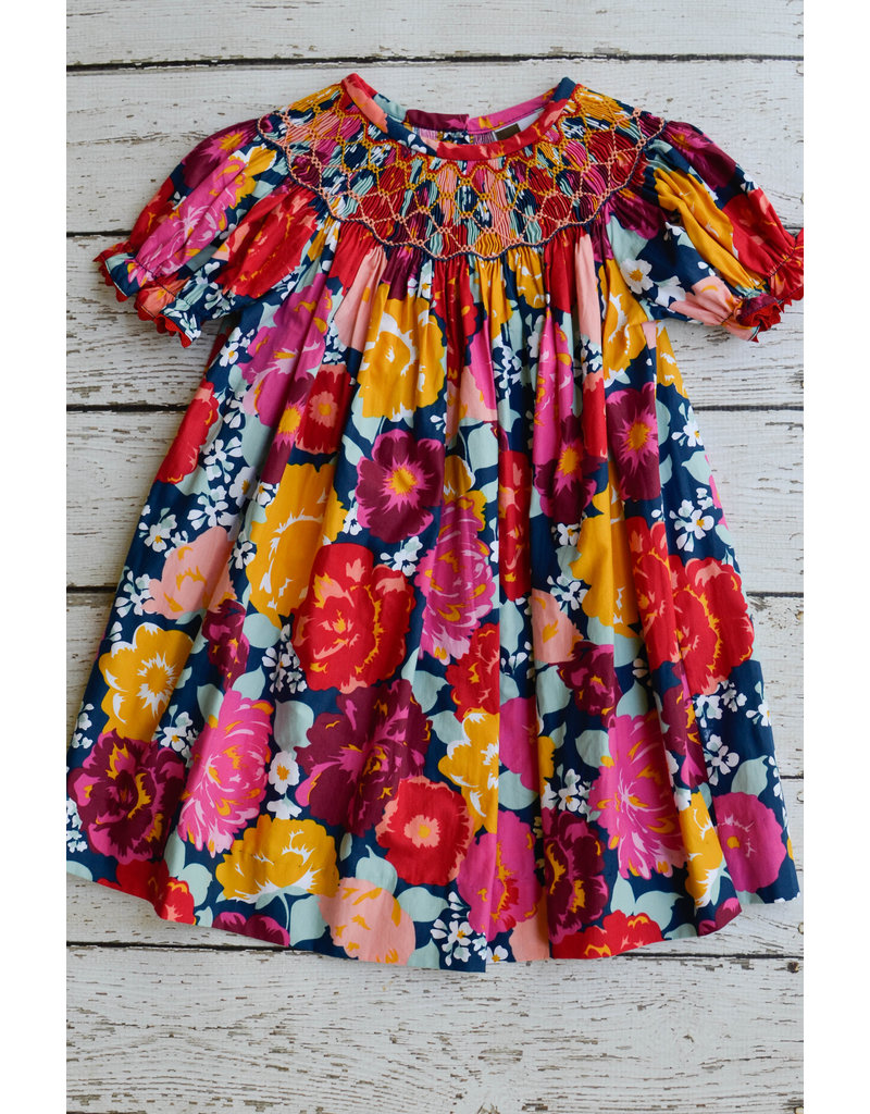 Banana Split Rhapsody Rose Smocked Geo Bishop Dress