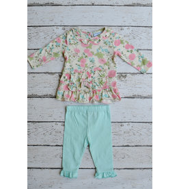 Three Sisters Floral Top and Turquoise Legging Set