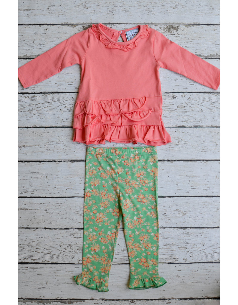Three Sisters Coral Top and Floral Legging Set