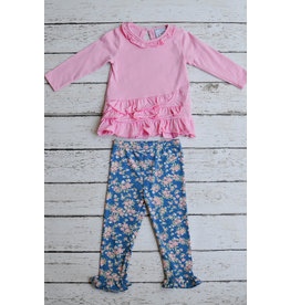Three Sisters Pink Top and Floral Legging Set